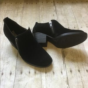 Born Black Suede Leather Ankle Booties Shoes NEW